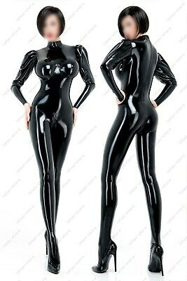 22401 Latex Catsuit Puff-sleeve Cup Inflatable Sexy Women's L Size Clubwear .4mm