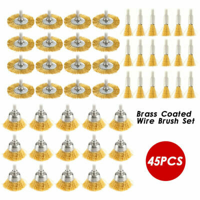 45pc/Set Brass Wire Wheel Durable Polishing Mix Brush fit for Dremel Rotary Tool