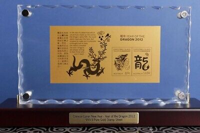 Australia: 999.9 gold 2012 Year of the Dragon stamp miniature sheet in holder