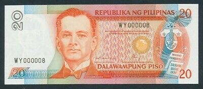 """Philippines: 1992 20 Piso RARE LUCKY SERIAL NUMBER """"WY 000008"""". Pick 170f"""