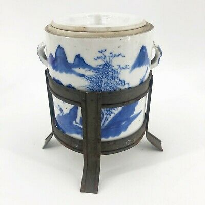 Antique Chinese Porcelain Blue & White Brush Pot with Lid & Metal Stand Rare