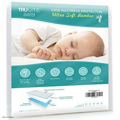 Baby Crib Mattress Protector Pad - The Softest Bamboo Rayon Fiber Quilted Terry