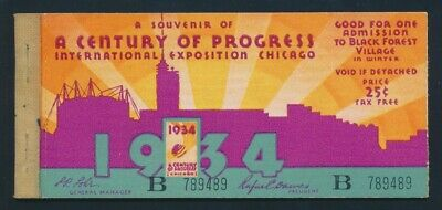 """USA: 1934 Chicago Exposition Booklet 4 x 25c """"ART DECO"""" Admission Tickets SCARCE"""