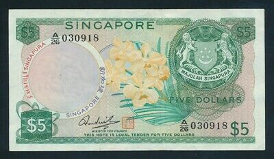 "Singapore: 1973 $5 Hon Sui Sen ""WITH SEAL"". Pick 2d AUNC Toning - Cat UNC $187"
