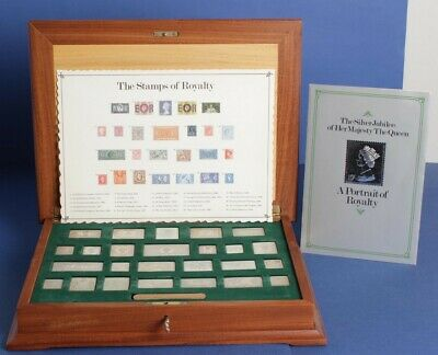 Great Britain 1977 Silver Jubilee 25 x Silver Stamp of Royalty in Wooden Case