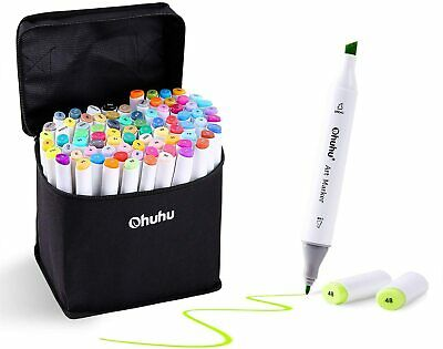 Ohuhu 60 Colours Dual Tips Permanent Marker Pens Art Markers for Kids, Highlight