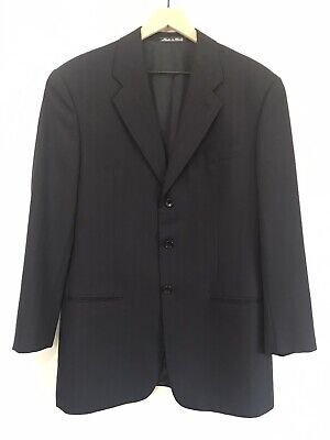 Armani Collezioni 40R Mens 3-Button Wool Suit Jacket Black Made In Italy