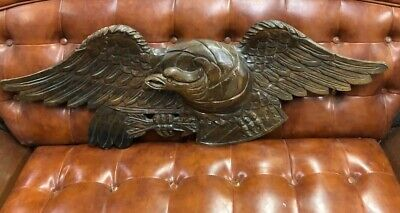 Hand Carved Folk Art Wooden America Flag Eagle Wall Plaque