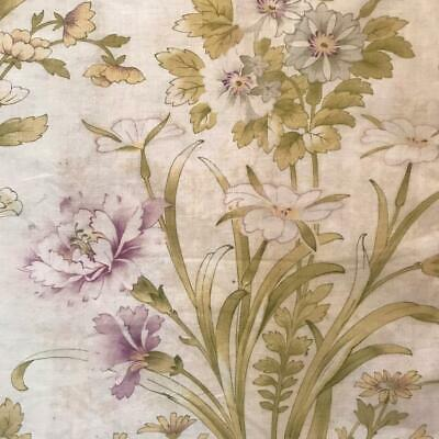 BEAUTIFUL LATE 19th CENTURY FRENCH FINE FLORAL LINEN COTTON CARNATIONS 957