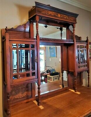 Antique Solid Wood Organ Top with Beveled Mirrors & Beveled Glass Doors – Rare!