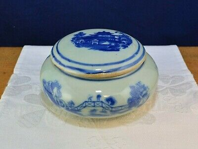 Vintage Small Round Oriental Ceramic Trinket Box Chinese Japanese Asian