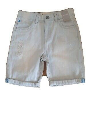 Boys Longer Lenght Shorts Next Pale Blue Distressed  Age 10 Years Bnwt