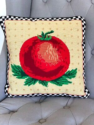 Vintage and Handmade Needlepoint Throw Pillow, Vintage Home Decor