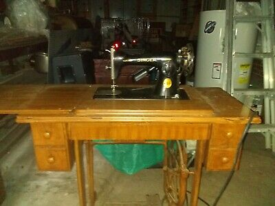 Antique Singer Sewing Machine In Treadle Cabinet with Attachments