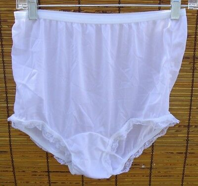 NOS Vtg Snow White Satiny NYLON Panties Lace Trim Waist 26-42 8 USA NO Cotton