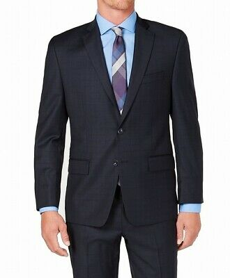 Michael Kors Mens Blazer Navy Blue Size 40L Windowpane Two Button Wool $600- 129