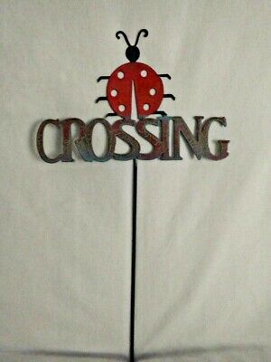 Ladybug Crossing Metal Yard Stake Sign Lawn Ornament great for Plants or Patio