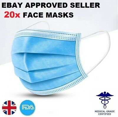 20x Face Mask Surgical Disposable Mouth Guard Cover Face Masks Respiration UK