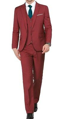 Mage Male Mens Suit Red Size 3XL Single Button 3 Pieces Notch-Collar $78 791