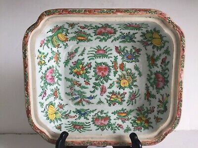 Antique Chinese Export Porcelain Famille Rose Canton Square Vegetable Bowl BASE