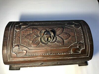 Antique Hand Carved Wooden Jewelry Box - Rose Design and Floral Motif - Folk Art