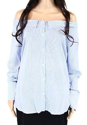 Timing Womens Top Blue White Size Large L Collar Button Down Striped $38 328