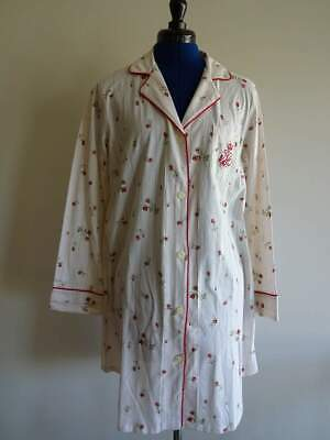 RALPH LAUREN RED ROSE Floral Cream FLANNEL WOMENS MED NIGHT SHIRT Gown