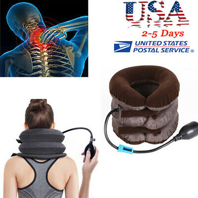 Air Inflatable Pillow Cervical Neck Headache Pain Traction Support Brace Tool US
