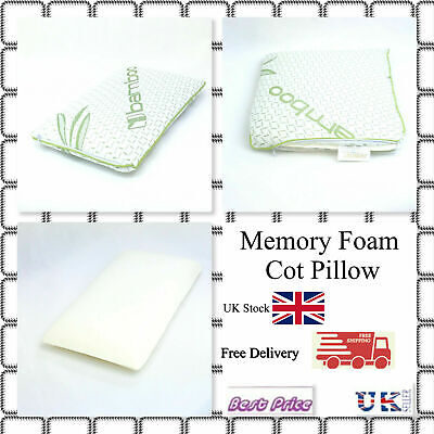 Bamboo Memory Foam Cot Pillow Kids, juniors Toddler with Organic Bamboo Cover