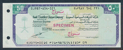 "Saudi Arabia: 1980s Saudi Travellers Cheque Co 50 Riyals. RARE ""SPECIMEN"" ISSUE"