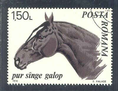 "Horses: ""Trotter Thoroughbred"", 1970 Romania, Scott #2213. Free WW S/H"