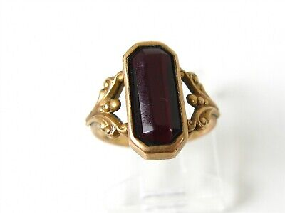Antique Victorian 10k Rose Gold Red Stone Ladies Ring 1.3g