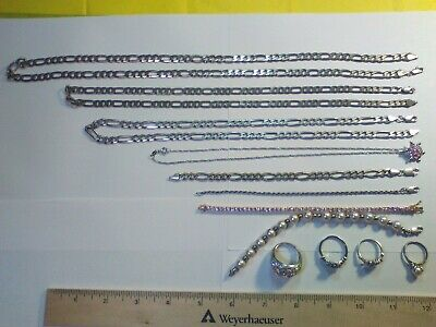 Sterling Silver .925 Jewelry Lot- 4 necklaces, 4 bracelets, 4 rings