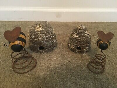 Folk Art Wooden Bee's & Rope Hives Set