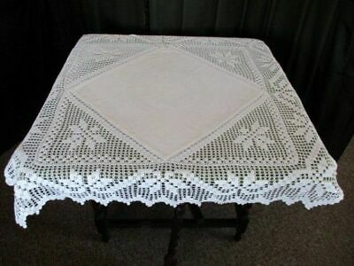 """ANTIQUE TABLECLOTH WITH HAND CROCHET CORNERS & TRIM - 35""""sq"""