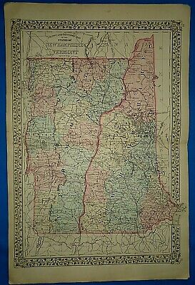 Vintage 1880 MAP ~ NEW HAMPSHIRE - VERMONT ~ Old Antique Original Atlas Map