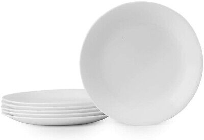 """Corelle Winter Frost 6-Pack Lunch Plates, White 8.5"""" / 21.6cm NEW"""