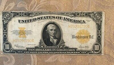 $10 1922 Ten Dollar USA Gold Seal Note LARGE Bill Currency Certificate