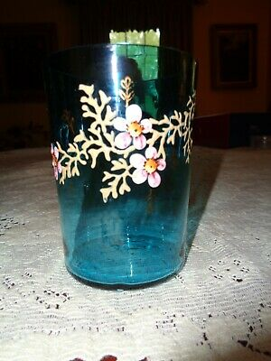 Lovely Antique Hand Blown & Painted Aqua Glass Tumbler-Pink Flowers