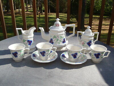 Vintage Simpsons GREENFIELD VILLAGE Henry Ford Museum Blue Floral 9 PC TEA SET