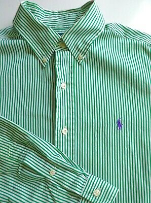 Ralph Lauren Men's Long Sleeve Button Front green Stripe Logo Shirt Classic M