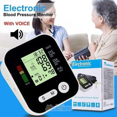 Automatic Upper Arm Blood Pressure Monitor Large Cuff Voice Digital Electronic