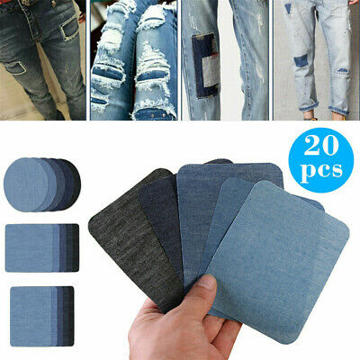 20Pcs Assorted Iron On Denim Fabric Mending Patches Repair Kit for Denim Jeans