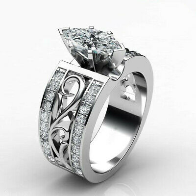 Silver Rings Women Marquise Cut White Sapphire Wedding Engagement Ring Size 10