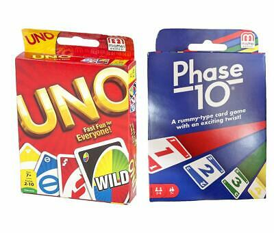 UNO & PHASE 10 Family Card Game Set by Mattel