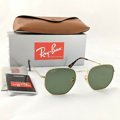 Ray-Ban Hexagonal - Gold Frame Green Flat  Lens Sunglasses - RB3548N 001 51-21