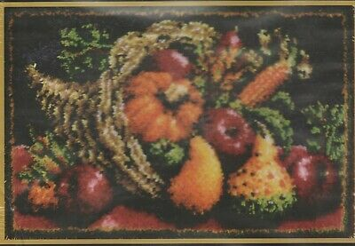 "Rare Caron Classics Large Latch Hook Rug Kit 51Cm X 76Cm ""Country Harvest"""