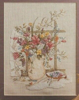 """Rare Vintage 1987 Paula Vaughan Counted Cross Stitch Chart """"Victorian Bouquet"""""""
