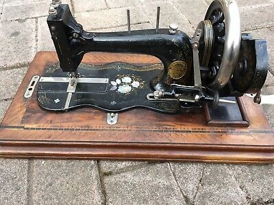 Antique Sewing Machine Made in London hand crank mother  pearl inlay Robins & Co