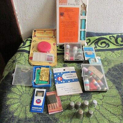 Nice Large lot of Vintage Sewing Supplies. Thread, Needles, Thimbles,